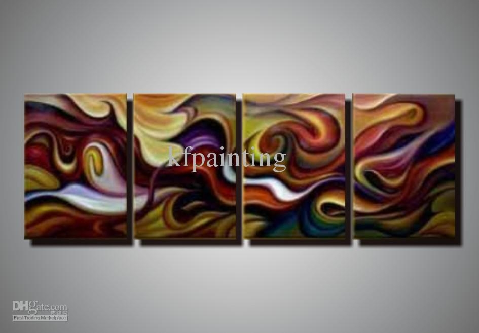 2018 100% Hand Painted Unstretched 4 Panels Abstract Painting Oil With Acrylic Abstract Wall Art (Image 1 of 20)