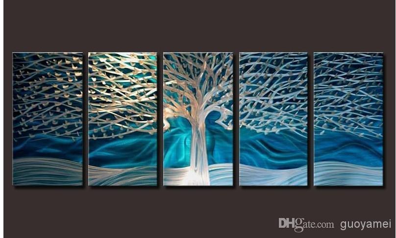 2018 Artwork Metal Wall Art Painting Abstract Wall Artwork In Blue Abstract Wall Art (Image 1 of 20)