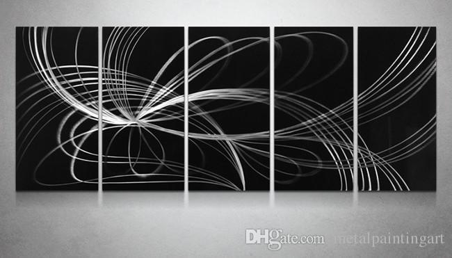 2018 Black White Aluminum Polished Modern High Quality Abstract For Aluminum Abstract Wall Art (Photo 6 of 20)