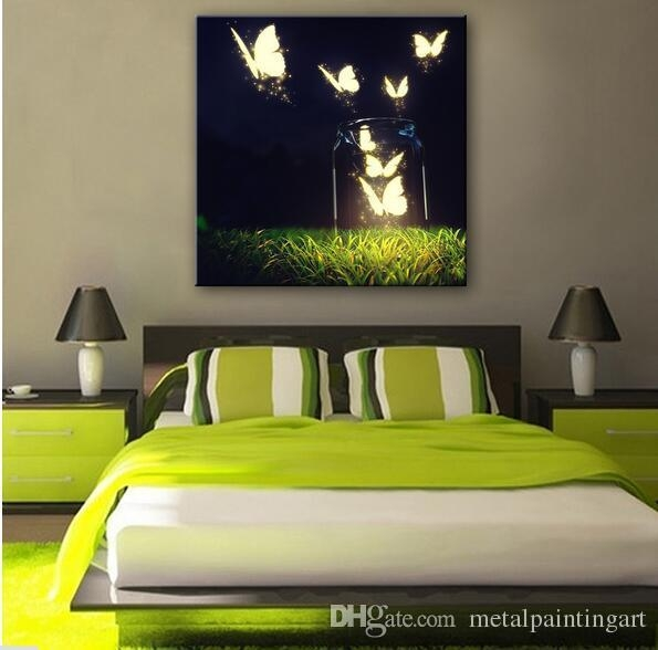 2018 Butterfly In The Air Abstract Wall Art Led Canvas Spray Throughout Abstract Wall Art For Bedroom (View 20 of 20)