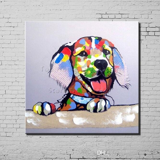 2018 Dog Cartoon Canvas Painting Texture 100% Hand Painted Modern With Regard To Abstract Dog Wall Art (Image 1 of 20)