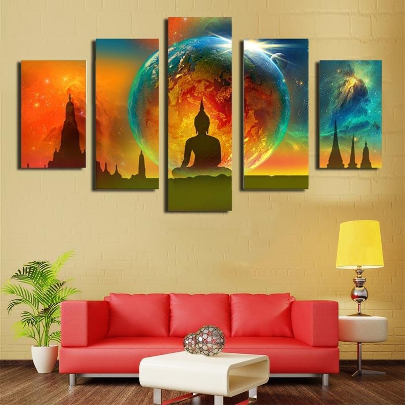 2018 Five Picture Combination Canvas Paintings Wall Art Abstract Pertaining To Abstract Buddha Wall Art (View 10 of 20)
