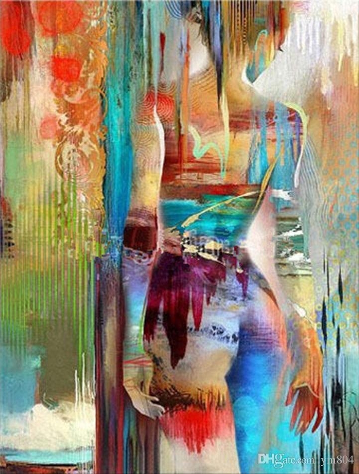 2018 Framed Bright Coloured Girl,pure Handpainted Contemporary In Bright Abstract Wall Art (Image 3 of 20)