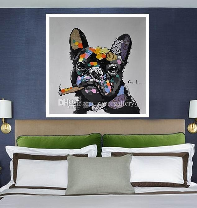 2018 Framed Dog Smoking A Cigar,handpainted Modern Abstract With Abstract Dog Wall Art (Image 2 of 20)