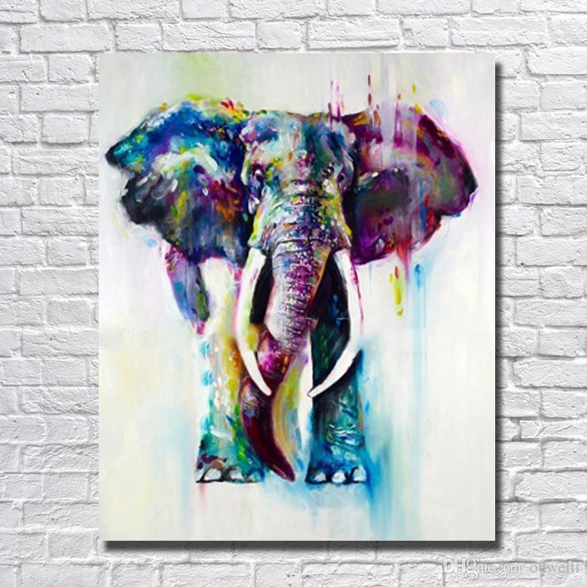 2018 Modern Abstract Knife Hand Painted Africa Elephant Animal Oil Inside Abstract Elephant Wall Art (Image 3 of 20)