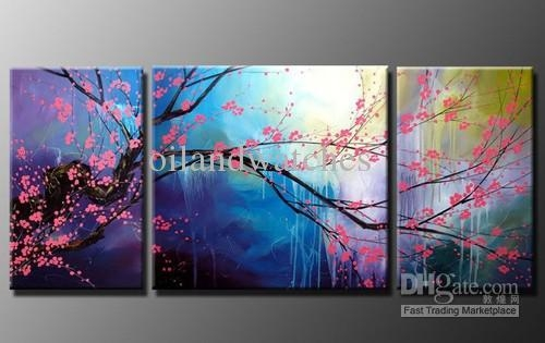 2018 Modern Abstract Wall Art Cherry Blossom Oil Painting H392 With Abstract Cherry Blossom Wall Art (Image 2 of 20)