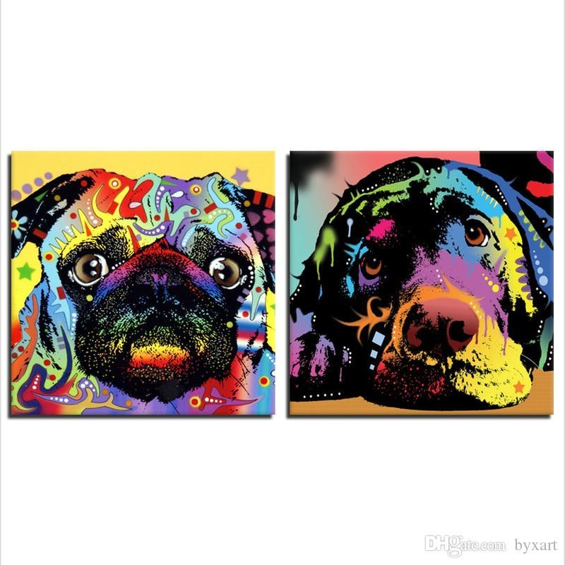 2018 Wall Art, Colorful Abstract Dog Canvas Prints Dog Head Wall For Abstract Dog Wall Art (Image 3 of 20)