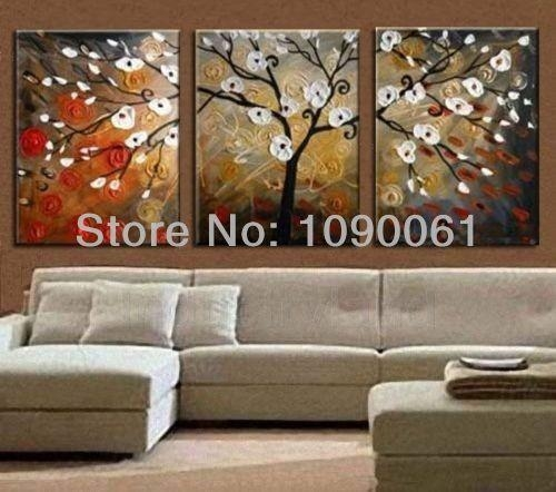 2018 Wholesale Hand Painted Tree Landscape Oil Paintings On Canvas Throughout Abstract Wall Art For Dining Room (Photo 8 of 20)