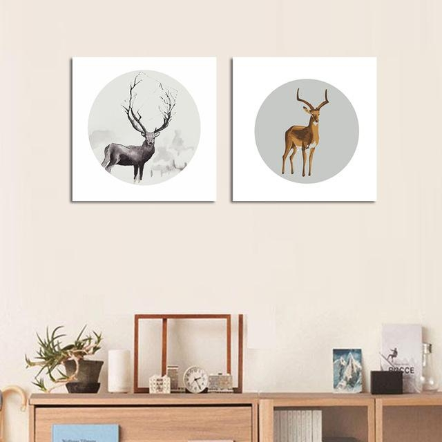 2Pcs Unframed Abstract Deer Wall Painting Animal Canvas Painting Throughout Abstract Deer Wall Art (Image 3 of 20)