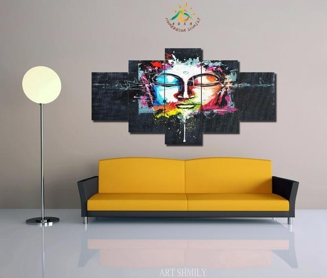 3 4 5 Pieces Modern Printed Abstract Buddha Wall Art Painting Pertaining To Abstract Buddha Wall Art (View 20 of 20)