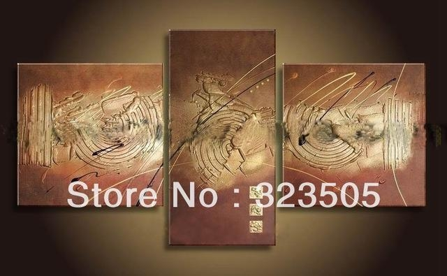 3 Panel Brown Acrylic Canvas Wall Art Modern Abstract Wall Decor Within Brown Abstract Wall Art (Photo 14 of 20)