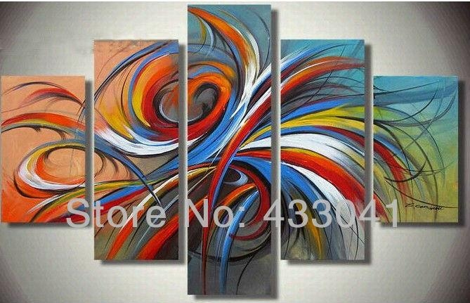 3 Piece Sets Oil Painting On Canvas Handpainted Red Yellow Blue Intended For Bright Abstract Wall Art (Photo 7 of 20)