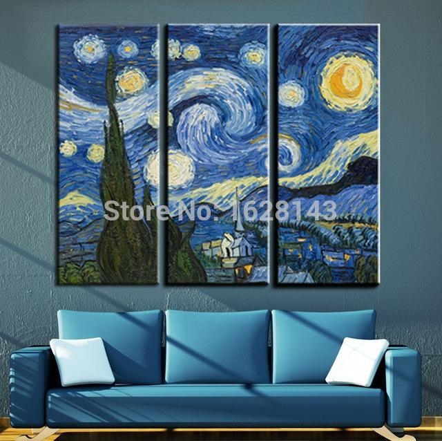 3 Pieces Vincent Van Gogh Oil Painting Starry Night Famous In Vincent Van Gogh Wall Art (Photo 3 of 20)