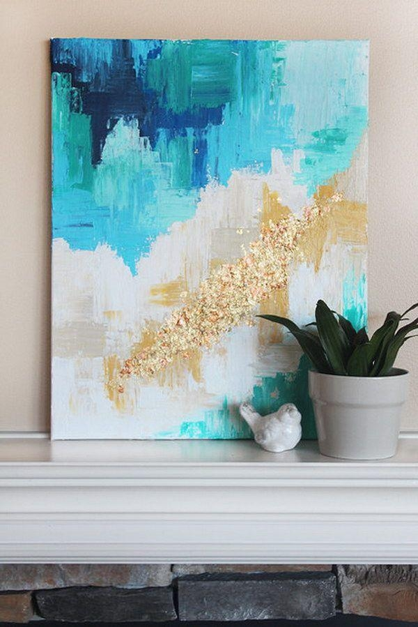 30 Awesome Wall Art Ideas & Tutorials | Silver Glitter And Watercolor In Affordable Abstract Wall Art (Photo 20 of 20)