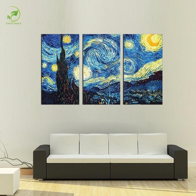 3Pcs Masters Starry Night Vincent Van Gogh Prints Reputation Oil In Vincent Van Gogh Wall Art (Image 4 of 20)