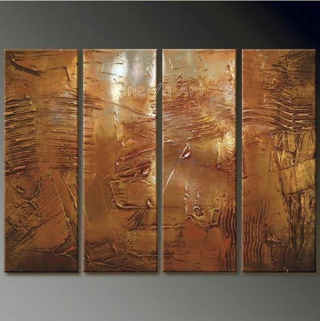 4 Piece Abstract Modern Muti Panel Canvas Wall Art Brown Artwork Pertaining To Brown Abstract Wall Art (Photo 1 of 20)