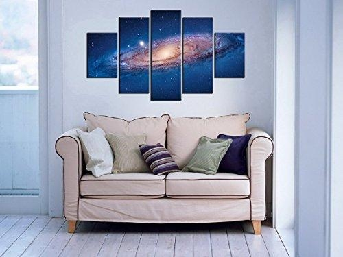 5 Panel Modern Abstract Wall Art Dark Universe Photo Canvas Prints Within Dark Blue Abstract Wall Art (Image 5 of 20)