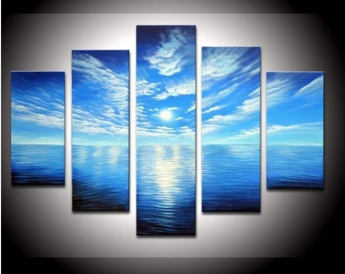 5 Panel Wall Art Seascape Blue Ocean Picture Sea Oil Painting Within Blue Canvas Abstract Wall Art (View 8 of 20)