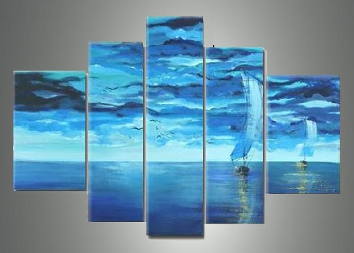 5 Piece Blue Abstract Wall Art Pictures Paintings On Canvas Ocean Within Blue Abstract Wall Art (Image 3 of 20)