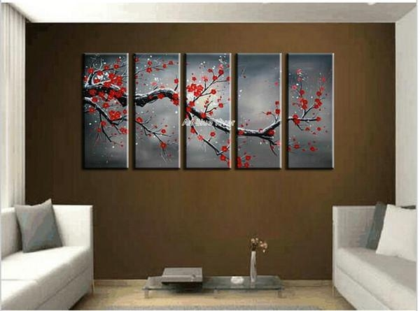 5 Piece Canvas Wall Art Cheap Abstract Wall Decor Red Cherry Regarding Abstract Cherry Blossom Wall Art (Image 4 of 20)