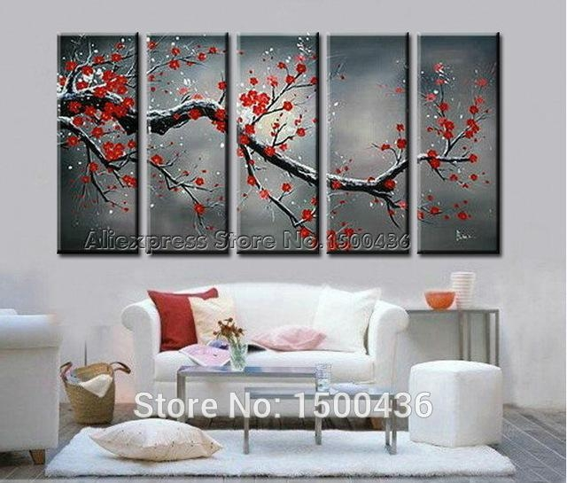 5 Piece Cherry Blossom Paint Abstract Red Flower Oil Handpainted For Abstract Cherry Blossom Wall Art (Image 5 of 20)