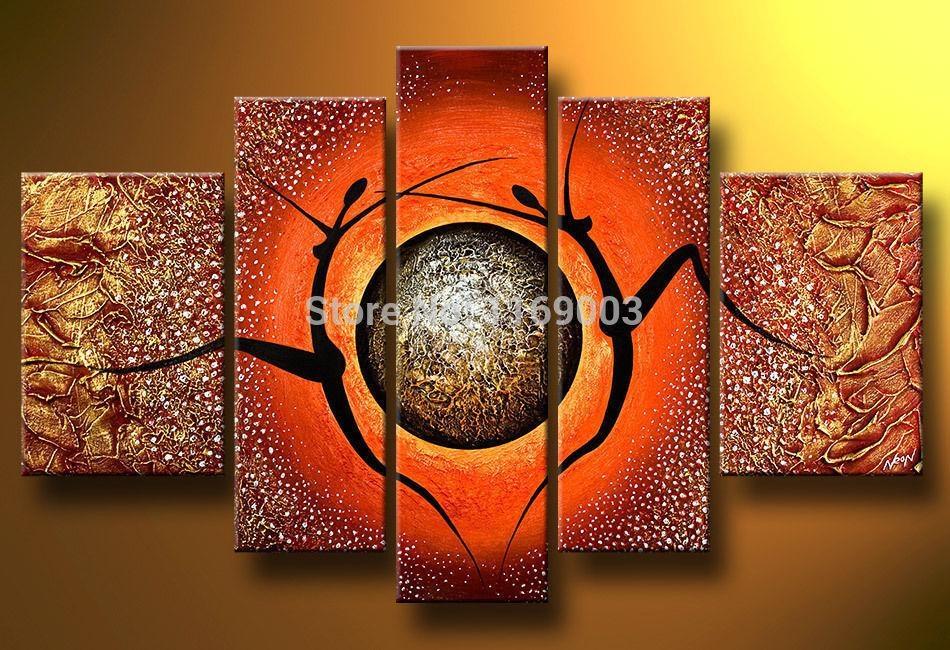 5 Piece Modern Abstract Canvas Wall Art Handmade African Nude Art Within Abstract African Wall Art (Image 5 of 20)