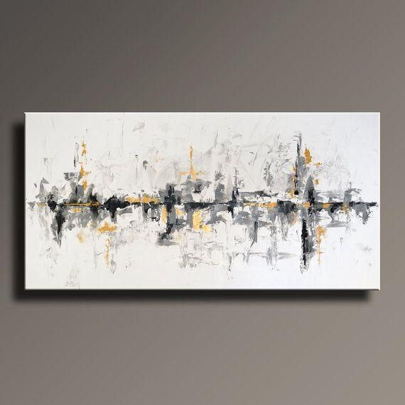"75"" Large Original Abstract Black White Gray Gold Painting On In Black And Gold Abstract Wall Art (Image 3 of 20)"