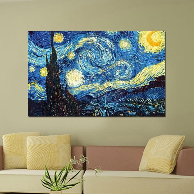 A1/a2/a3 Digital Canvas Printed Masters Starry Night Vincent Van Regarding Vincent Van Gogh Wall Art (Image 5 of 20)