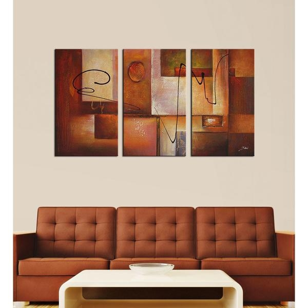 Abstract 11' 3 Piece Canvas Art Set – Overstock™ Shopping – Top With Bold Abstract Wall Art (Image 4 of 20)