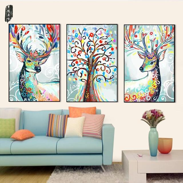 Abstract Animal Wall Art Deer Canvas Painting Posters And Prints With Abstract Deer Wall Art (Image 4 of 20)