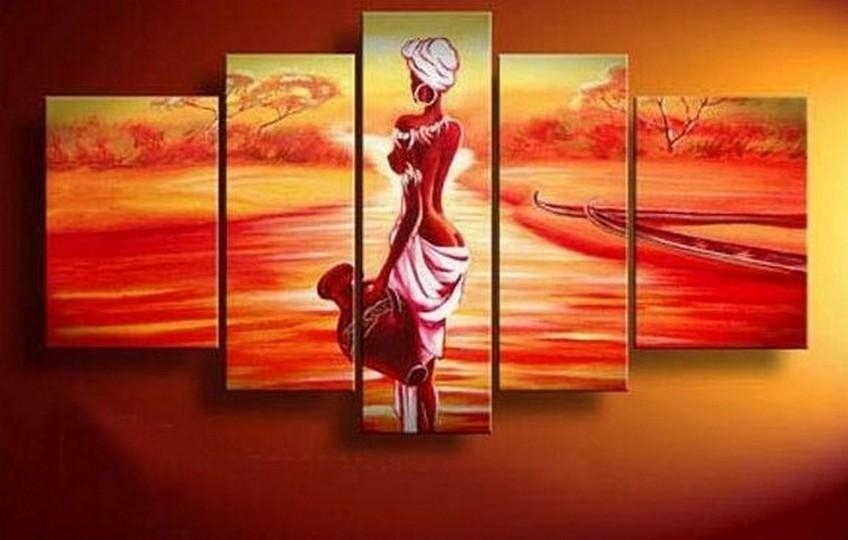 Abstract Art, African Girl, Sunset Painting, Canvas Painting, Wall For Abstract African Wall Art (Photo 12 of 20)