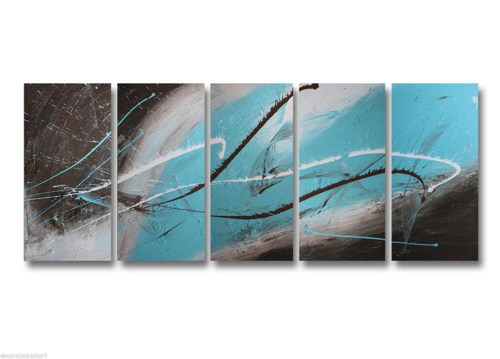 Abstract Art Canvas Painting Brown Turquoise  (Image 3 of 20)