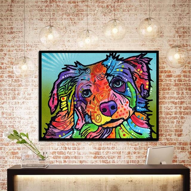 Abstract Art On Canvas Colorful Dog Wall Decor Oil Painting Regarding Abstract Dog Wall Art (Image 4 of 20)