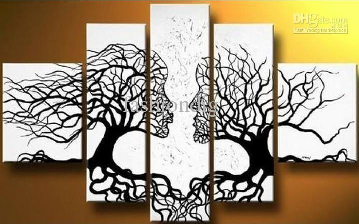 Abstract Black White Oil Painting Couple Love Tree Home Office For Black And White Abstract Wall Art (View 2 of 20)