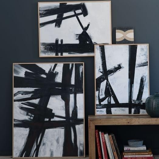 Abstract Black + White Wall Art | West Elm Within Black And White Inside Black And White Abstract Wall Art (Photo 1 of 20)