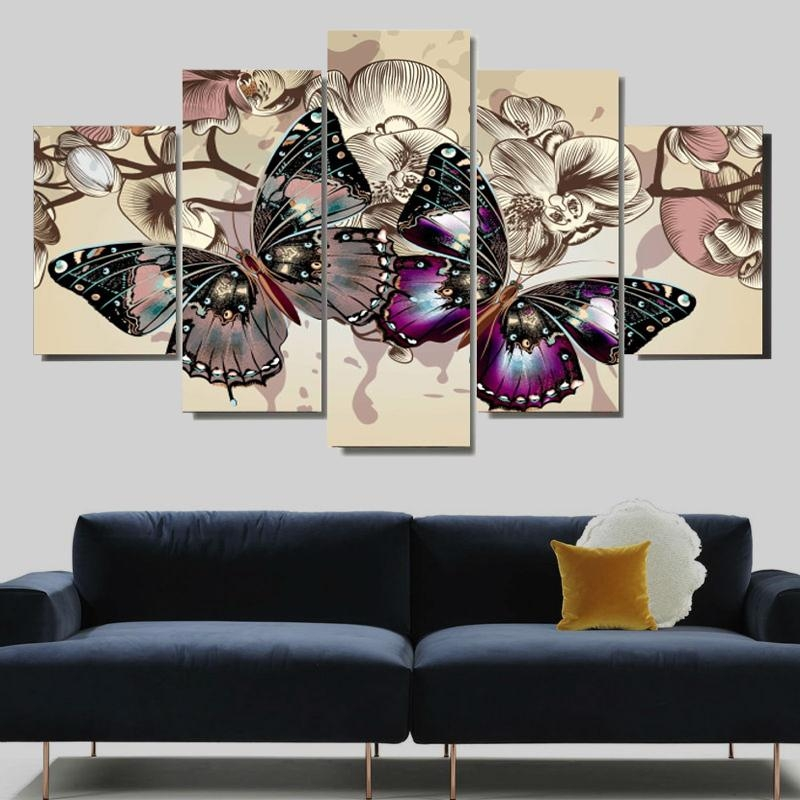 Abstract Butterfly Wall Canvas Art Painting – Canvas Store Inside Abstract Butterfly Wall Art (View 3 of 20)