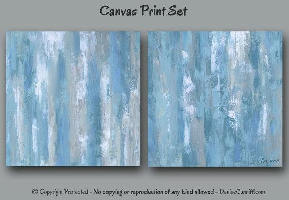 Abstract Canvas Art Print Set Blue & Gray Home Decor Large Intended For Blue Green Abstract Wall Art (Image 3 of 20)