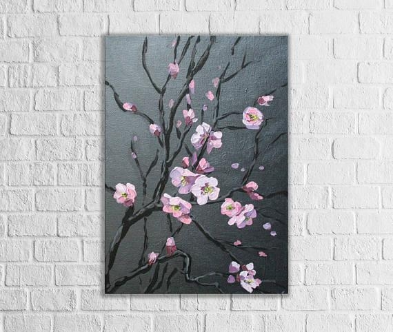 Abstract Cherry Blossom Tree Original Canvas Art Dark Painting With Regard To Abstract Cherry Blossom Wall Art (Image 7 of 20)