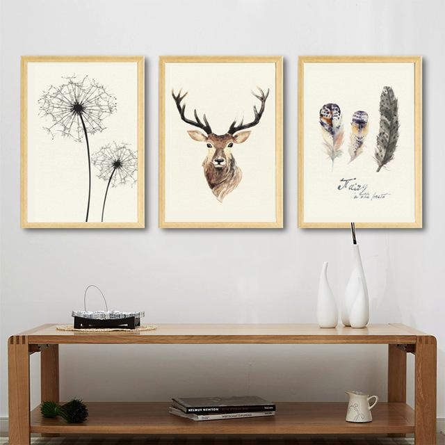 Abstract Deer Canvas Painting Dandelion Feather Nordic Posters And With Abstract Deer Wall Art (View 14 of 20)