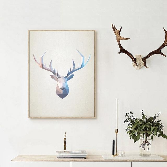 Abstract Deer Head Wall Art Print Pictures , Geometric Polygonal Within Abstract Deer Wall Art (Image 7 of 20)