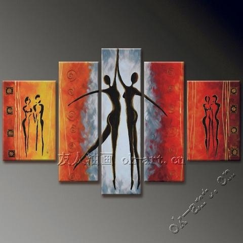 Abstract Female Body Oil Painting Beauty Dance 5 Panel Black White With Regard To Abstract Body Wall Art (Image 4 of 20)