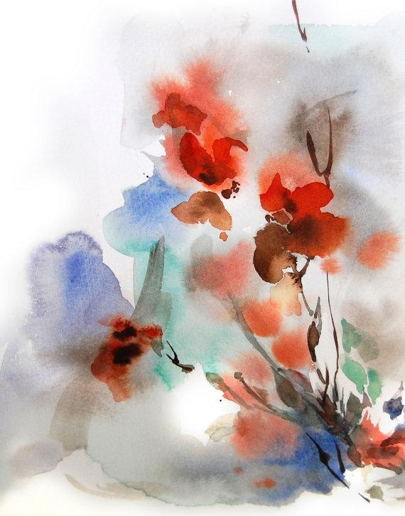 Abstract Floral Art Print, Watercolor Painting, Abstract Painting In Abstract Floral Wall Art (Image 5 of 20)