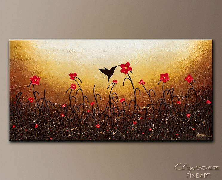 Abstract Flower Art Painting Lovely Bird – Red Flower Painting Pertaining To Abstract Flower Wall Art (Image 4 of 20)
