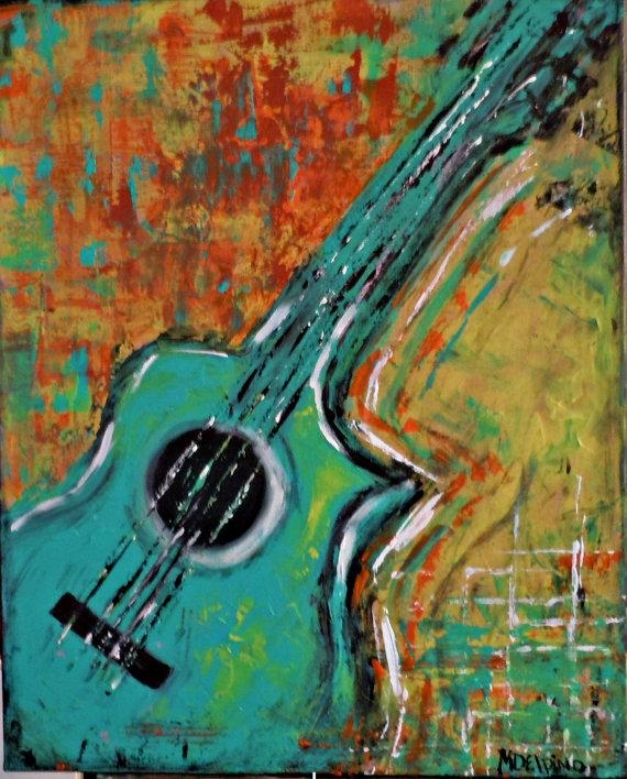 Abstract Guitar Original Painting Music Wall Art Largeadoraart Regarding Abstract Musical Notes Piano Jazz Wall Artwork (View 6 of 20)