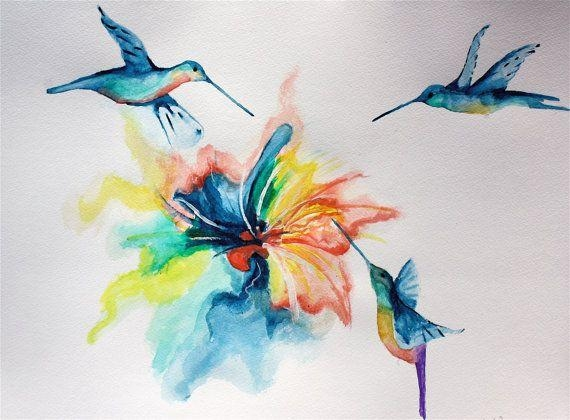 Abstract Hummingbirds Watercolor Painting Rainbow Nature Animal In Abstract Bird Wall Art (Image 3 of 20)