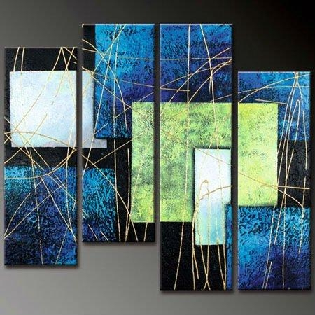 Abstract Lines – Cheap Oil Paintings Within Blue Green Abstract Wall Art (Image 4 of 20)