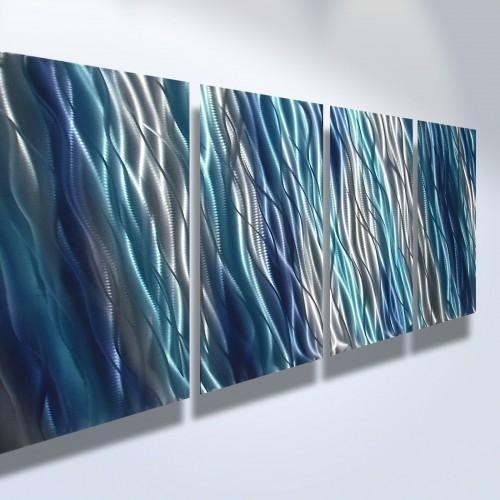 Abstract Metal Art Wall Art Modern Decor Sculpture Blue Reef Throughout Blue Abstract Wall Art (Image 4 of 20)