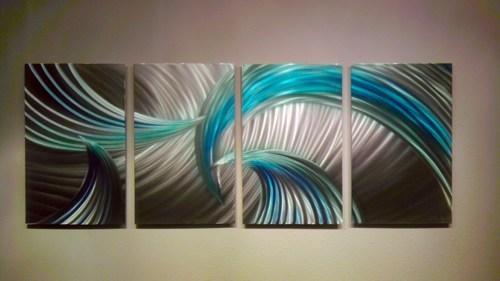 Abstract Metal Wall Art  Modern Decor Sculpture Tempest Blue Green For Blue Abstract Wall Art (View 12 of 20)
