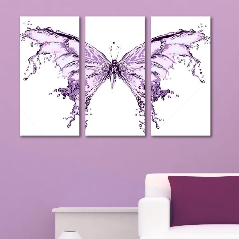 Abstract Modern Decoration With Butterfly For Teen Room Of A Girl For Abstract Butterfly Wall Art (View 9 of 20)