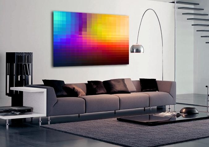 Abstract Multi Coloured Pixelated Canvas Art| Buy Abstract Multi With Colourful Abstract Wall Art (Image 2 of 20)